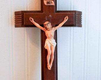 Last Rites Vintage catholic Crucifix, Wooden Crucifixion Jesus  on Cross,  Candles and Oil, Annointing Oil, Crucifix Kit inri