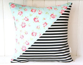 Patchwork Pillow Cover, 20x20, black and white stripes vs. roses on blue