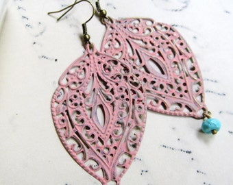 Large Pink Patina Earrings, Filigree Bohemian, Light Coral, Lacy, Cottage Chic, Bridesmaid Earrings, Bridal