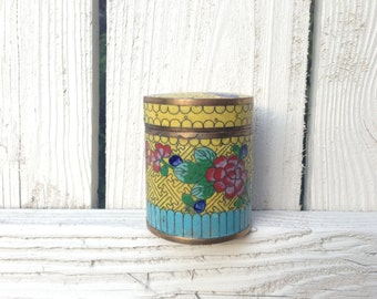Antique Yellow Cloisonne Enamel Tea or Tobacco Canister