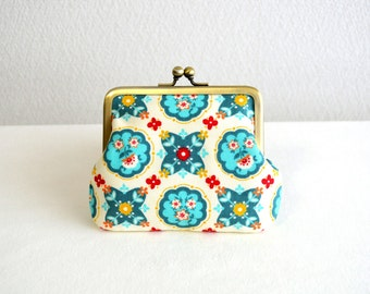 Folk art coin purse - turquoise, blue, white, frame purse, clasp purse