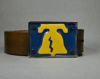 Belt Buckle Liberty Bell Pennsylvania Gold on Blue Handmade Cool Gift for Men or Women