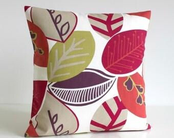 Scandinavian Decorative Throw Pillow, 16 Inch Pillow Cover, Pillowcase, 16x16 Pillow Sham, Cushion Cover - Nordic Fall Raspberry