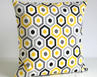 Throw Pillow Cover, 16 Inch Pillow Cover, Pillow Sham, Pillow Covers, 16x16 Cushion Cover, Accent Pillow Cover, Pillow - Beehive Sunshine