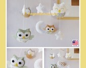 Baby Crib Mobile,Owl Mobile,Nursery Mobile,Baby Room Decor, Green Nursery Decor, Sage and Biege Owl Mobile, Neutral Owl Mobile