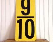 Vintage Gas Station Price Number Sign Yellow