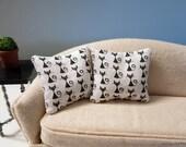 Tiny retro black cats modern pillows - set of two - dollhouse miniature