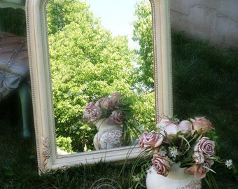 C H I C, Ivory Mirror Shabby Chic Roses, Nursery Furniture, Vanity Mirror