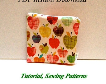 Wet Bag Tutorial - Snack Bags DIY - Sandwich Bags Pattern - Instant Download - Sewing Pattern - PDF Snack Bag Pattern
