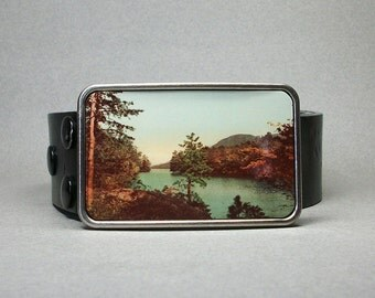 Belt Buckle Lake American Wilderness Pine Tree Mountains River Unique Gift for Men or Women