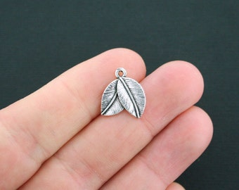 12 Leaf Charms Antique Silver Tone Two Leaves - SC852