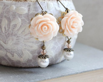Peach Earrings Rose and Pearl Drop Light Peach Wedding Rose Earrings Bridesmaids Jewelry Country Chic Wedding Pretty Girlie Vintage Style