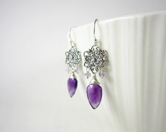 Sterling Silver Earrings - Dangle Earrings - Genuine Amethyst Gemstone Jewelry - Wire Wrapped Jewelry Handmade - Healing Crystals and Stones
