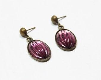 Vintage Scarab Looking Purple Crystal Earring