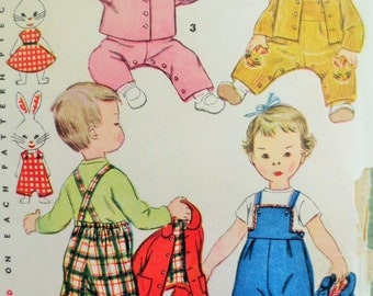 Vintage Simplicity 4417 Sewing Pattern, 1950s Baby Overalls Rabbit Applique, Baby Bonnet Toddler Overalls Baby Jacket, Vintage Sewing Supply