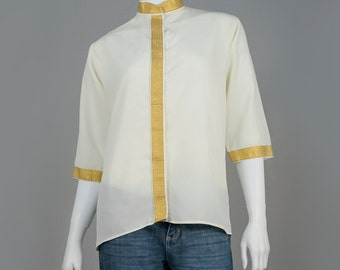 Asian Shirt - Mandarin Blouse - Metallic Gold Trim Cream Blouse - 3/4 Long Sleeve Mandarin Collar Button Down Shirt - Asian Blouse