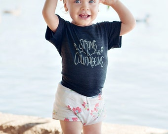 Strong and Courageous Flower and Vine Theme Kids T Shirt - Charcoal | Black Baby Toddler and Youth Shirt - Girls Clothing - Kids Clothes
