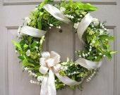 White Wreath, Wedding Wreaths, Wedding Decor, Green Wreath, Shabby Cottage Chic Door Wreath, Double Doors, Spring Wreaths