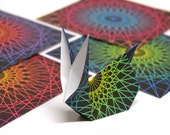 80's Lazer Origami Paper - Medium 5 inch, 8 sheets, Retro Spirograph 1980's Lasers,  Origami Supplies, Paper Supplies, Handmade Paper