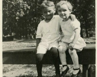 """Vintage Photo """"Young Cuties"""" Children Snapshot Photo Old Antique Black & White Photography Found Paper Ephemera Vernacular Picture - 164"""