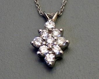 Multi Diamond Necklace Pendant 14K White Gold 14KT 14 Karat Delicate Chain Bridal Wedding Anniversary White Diamond Gemstone Fine Jewelry