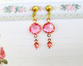 Vintage Swarovski Crystal Earrings, Pink, Dangle Earrings, NBW