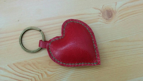 Heart keychain, heart keyring, leather keychain, leather keyring, red heart keychain, red heart keyring, red heart leather,  leather heart