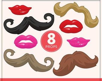 DIY Lips and Mustaches Props | 8 Full Size Printable Props | DIY Props | Instant Download | Photo-Booth Clipart