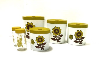 Vintage Enesco Painted Gold Floral Canister Set