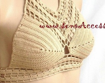 Crochet halter, Crochet top, Crochet crop top, Festival top, Handmade, Hippie, Summerwear, Coachella style, Boho, Bohemian, Top bra