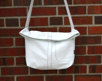 White Messenger Bag-white-wedding-ready to ship-Every Day Bag- bridesmaid gift-Leather Bags-couture-cwinn design-christmas gift