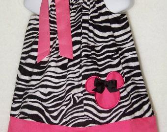Minnie Mouse Pillowcase Dress / Pink / Zebra / Cute / Newborn / Infant / Baby / Girl / Toddler / Handmade / Custom Boutique Clothing