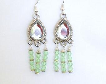 Peridot Chandelier Earrings, Bridal Jewelry, August Birthstone, Crystal Earrings, Beaded Earrings, Dangle Earrings, Birthstone Earrings