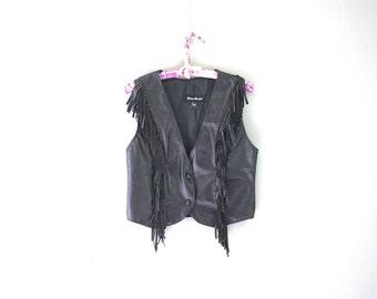 Black Leather Vest Fringe Festival Vest 1970's Vintage Women's Medium Motorcycle Vest Moto Biker Cropped Vest Boho Vest Button Down