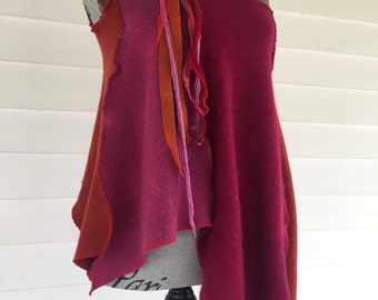 Handmade Asymmetrical Upcycled Pink & Orange Cashmere Sweater Tank Top