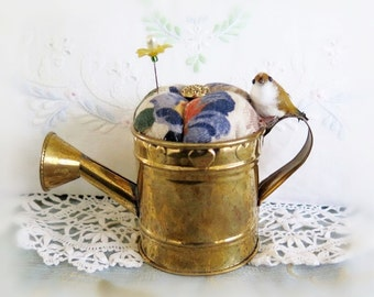 Handmade Pincushion, Garden Brass WATERING CAN with Bird, CharlotteStyle Sewing Needlecraft