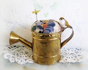 Handmade Pincushion, Garden Brass WATERING CAN with Bird, CharlotteStyle Sewing Needlecraft