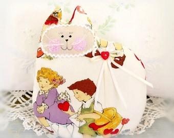 Valentine Cat Pillow, Cloth Doll 7 inch, Valentine Hearts Print, Heart Button, Soft Sculpture Handmade CharlotteStyle Decorative Folk Art