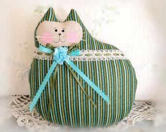 Cat Doll Pillow Cloth Doll 7 inch, Olive Green Aqua Teal Stripes, Primitive Soft Sculpture Handmade CharlotteStyle Decorative Folk Art