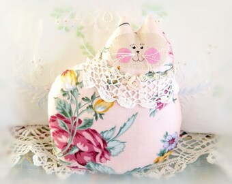 Cat Pillow Doll, Cloth Doll 7 inchs, Pink Polished Cotton Floral,  Primitive Soft Sculpture Handmade CharlotteStyle Decorative Folk Art