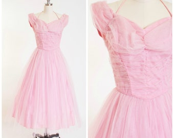 Vintage 1950s Party Dress • Be My Baby • Pastel Pink Tulle 50s Vintage Formal Gown by Emma Domb Size Small