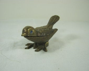 Vintage BRASS BIRD TRINKET Box Bluebird Figurine Tarnished Small Storage Display