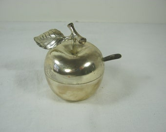 Vintage SiLVERPLATE APPLE SALT DISH w/ Spoon & Liner Tarnished Patina Container Storage Cellar