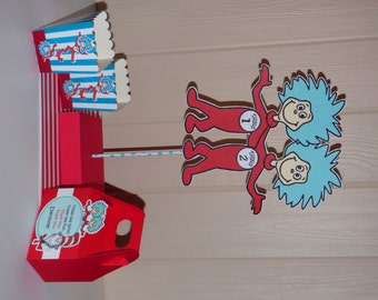 Dr Seuss Thing 1 Thing 2 Centerpiece - Thing 1 Thing 2 - Cat in the Hat Favor Bags
