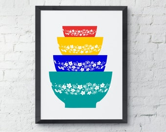 Pyrex Bowls Art Print, Kitchen wall decor, sprint blossom pattern