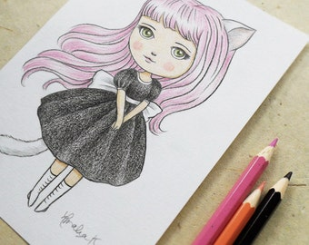 ON SALE 50% Discount, Kawaii Cute Original Drawing, Japanese Anime Manga Inspired Art, Pencil Drawing of Kitty Girl with Pink Hair