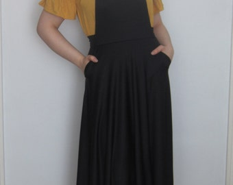 Pinafore Dress Overall Summer Dress Dungarees Jumper suspenders dress Women Maxi Dress with Pockets black overall Maxi dress (Made to Order)