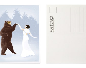 Art Postcards, Illustrated Holiday Cards, Animal Christmas Cards, Postcard Set, Dancing Bear, Masquerade Ball