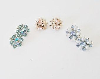 Midcentury Vintage Beaded Jewelry Silver Gold Vintage Earrings Enameled Jewelry Bue White AB Cyrstals Gold Silver Jewelry Cluster Earrings