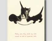 """Cat Kitchen """"SALE"""" Cat Wall Art (Cat Gifts, Vintage Cat Decor) --- """"First Bowl of Milk"""" No. 17"""